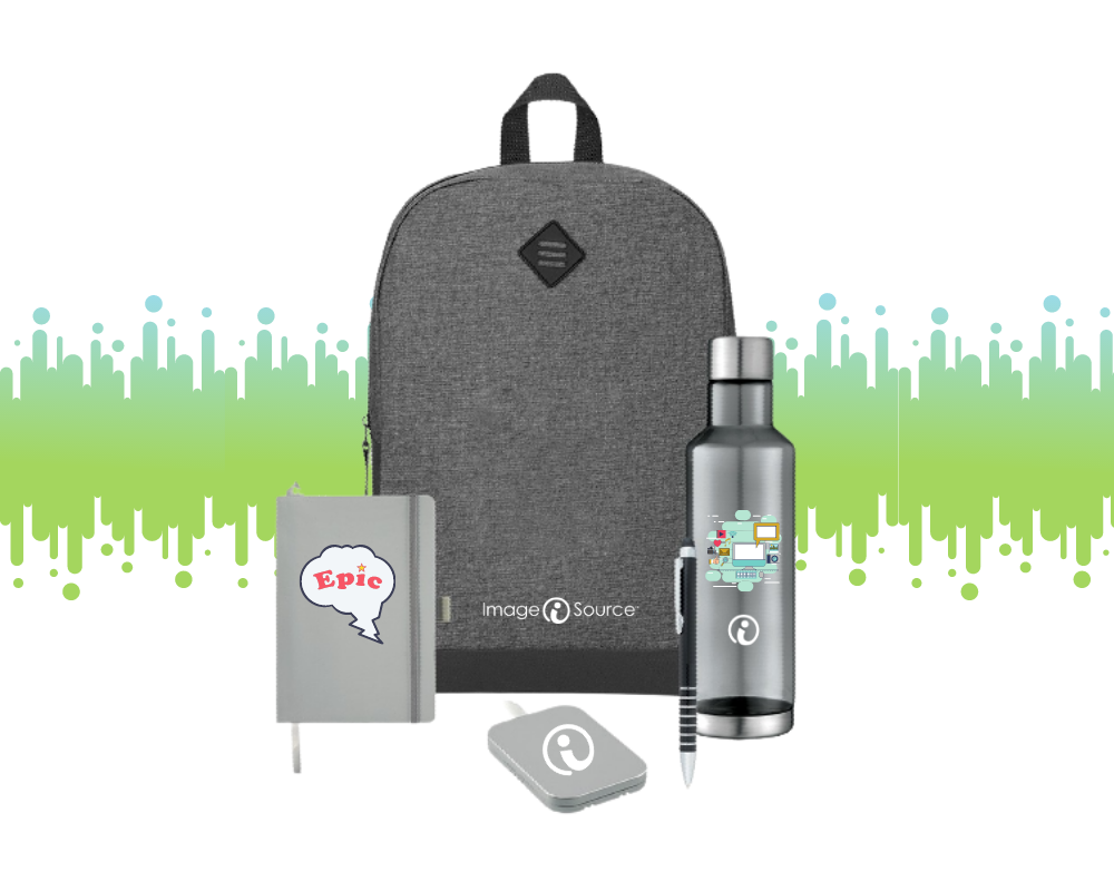 backpack, notebook, charger, water bottle